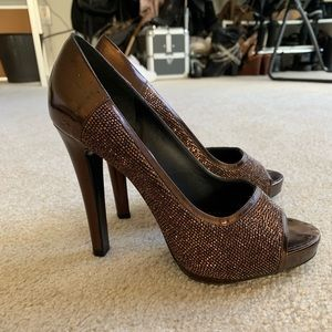 Bronze leather Givenchy peep-toe pumps Sz: 7.5